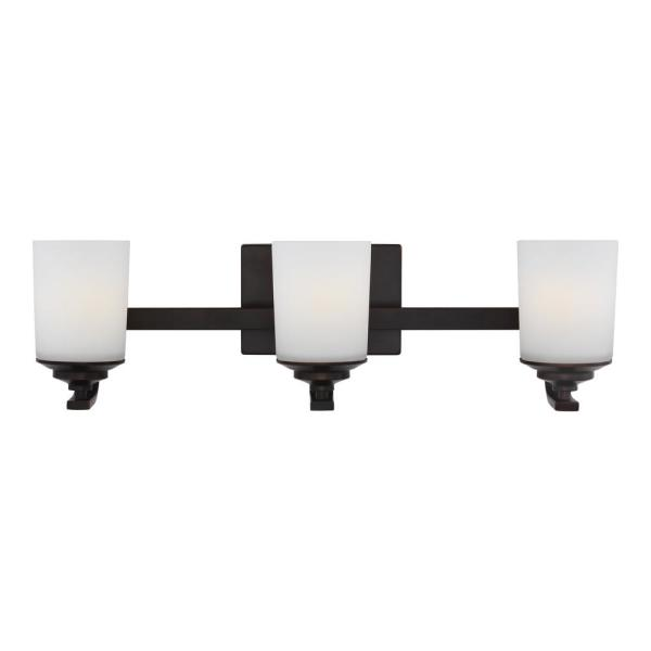 Kemal 24 in. 3-Light Burnt Sienna Vanity Light with Etched White Inside Glass Shades