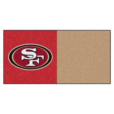 NFL - San Francisco 49ers Red and Gold Nylon 18 in. x 18 in. Carpet Tile (20 Tiles/Case)