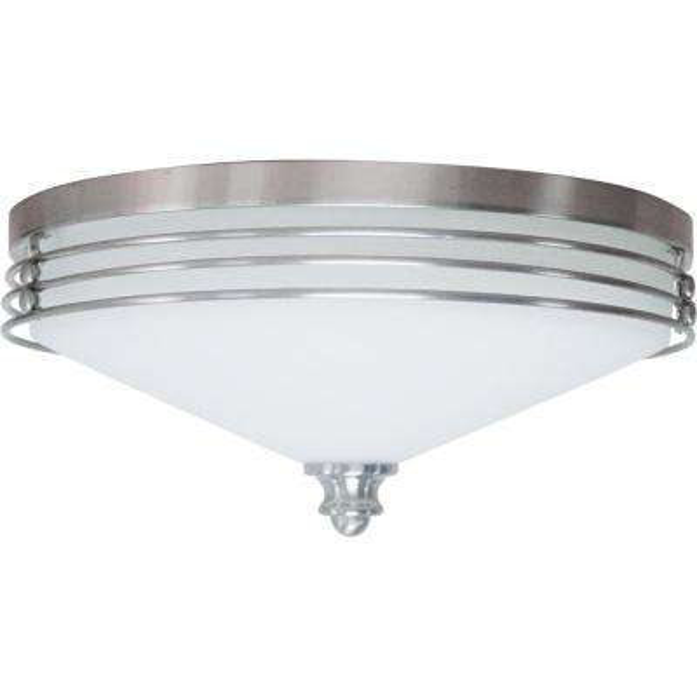 Avila 3-Light Indoor Brushed Nickel Flush Mount Ceiling Fixture with White Glass