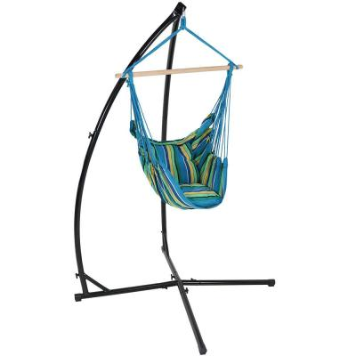3.75 ft. L Hanging Hammock Chair Swing with X-Stand and Seat Cushions Set in Ocean Breeze