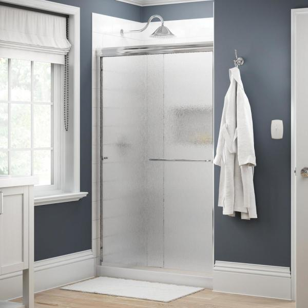 Simplicity 48 in. x 70 in. Semi-Frameless Traditional Sliding Shower Door in Chrome with Rain Glass