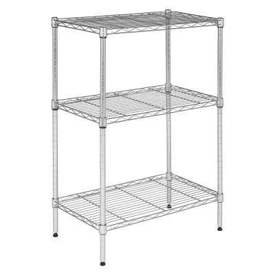 Suze 35 in. Chrome 3-Shelf Wire Rack