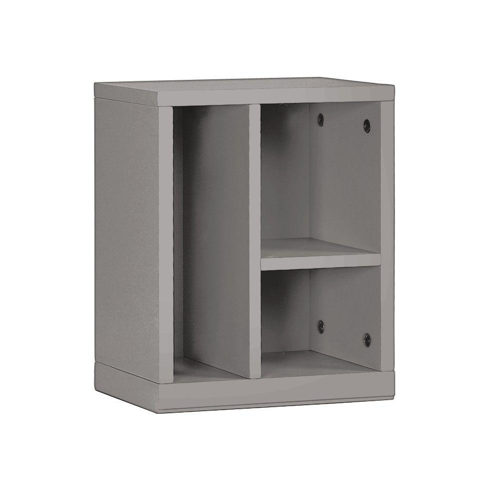 Home Decorators Collection 10.5 in. W x 13 in. H Cement Gray Left 3-Cubbie Organizer
