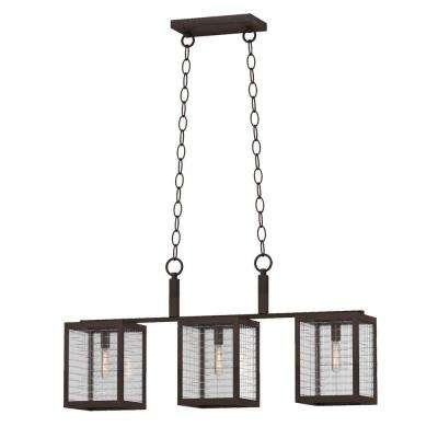 3-Light Oil-Rubbed Bronze Island Pendant with Etched Clear Glass Shades