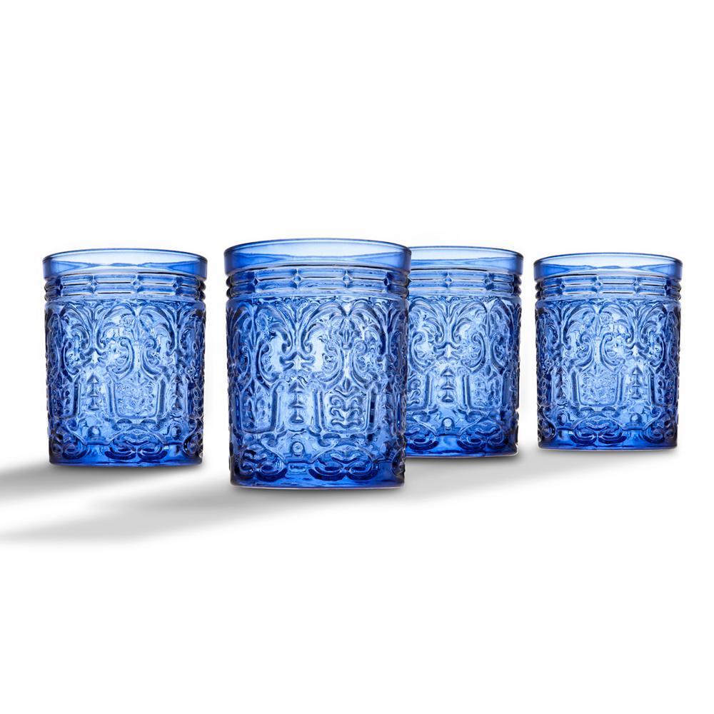 Jax 11 oz. Blue Crystal Doff Glasses (Set of 4)