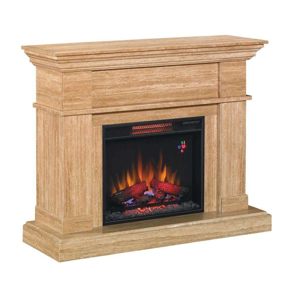 Classic Flame Everest 47.5 in. Wall Mantel Electric Fireplace in Travertine/Marble