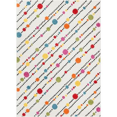 StarBright Dandy Dots and Stripes White 5 ft. x 7 ft. Kids Area Rug