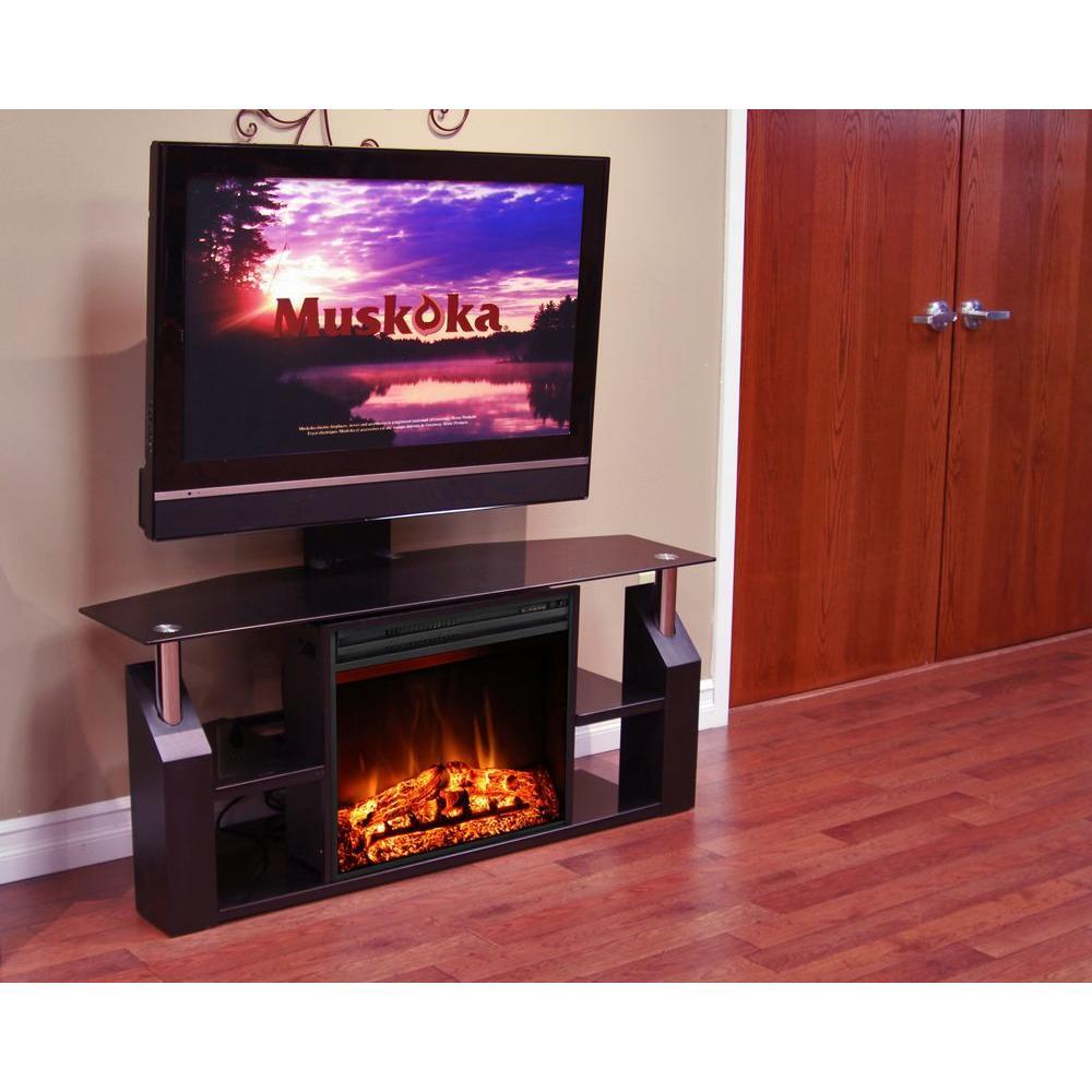 Muskoka Domus 53 in. Media Console Electric Fireplace in Gloss Black