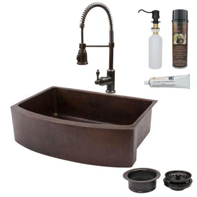 All-in-One Farmhouse Apron-Front Copper 33 in. 0-Hole Rounded Single Basin Kitchen Sink in Oil Rubbed Bronze
