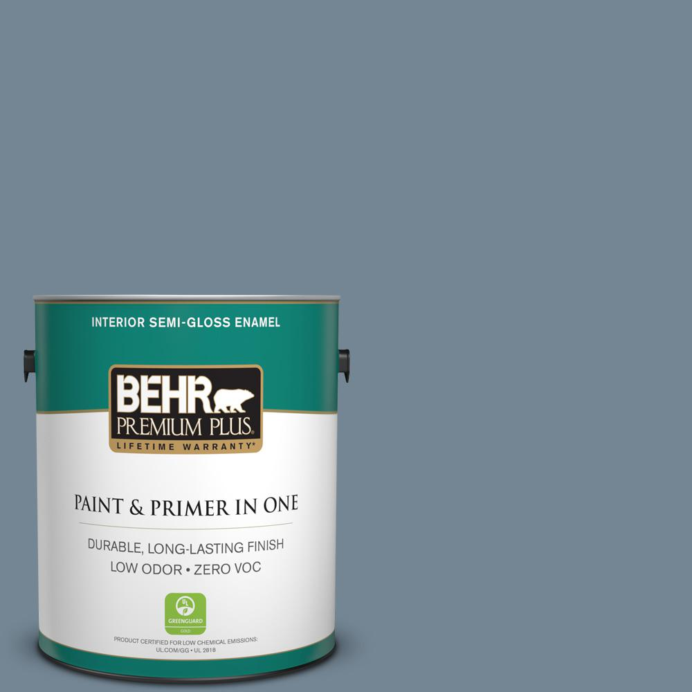 1 gal. #PPU14-05 Forever Denim Zero VOC Semi-Gloss Enamel Interior Paint