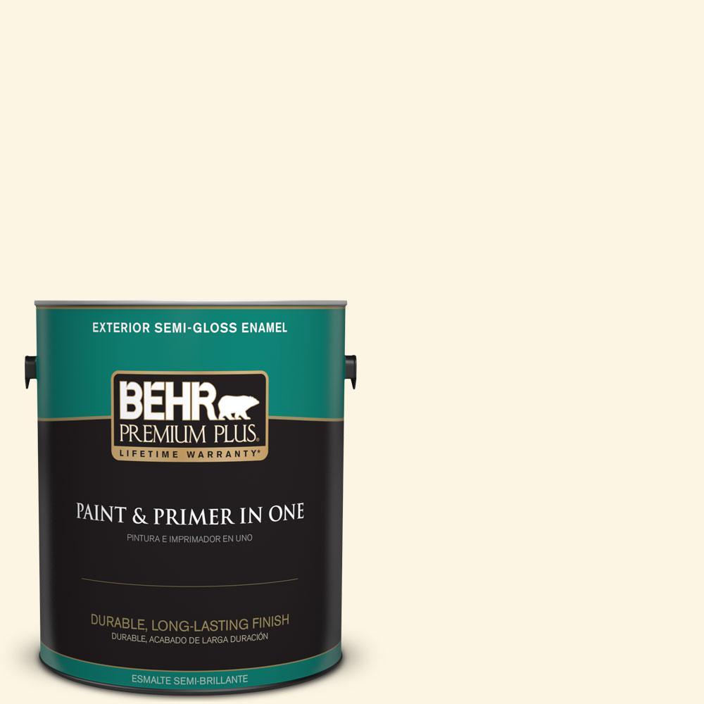 BEHR Premium Plus 1-gal. #P300-1 Lemon White Semi-Gloss Enamel Exterior Paint