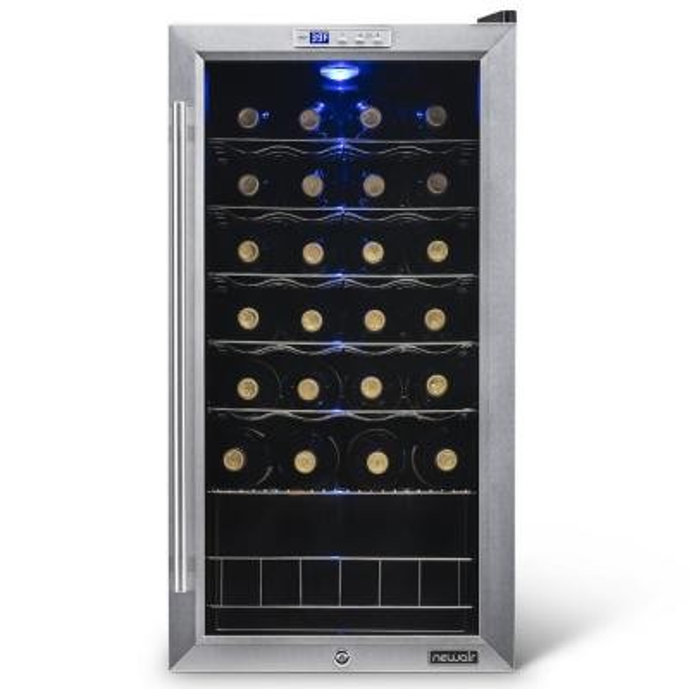 Premium Single Zone 27-Bottle Freestanding Cellar Refrigerator Compressor Wine Cooler with Lock Key - Stainless Steel