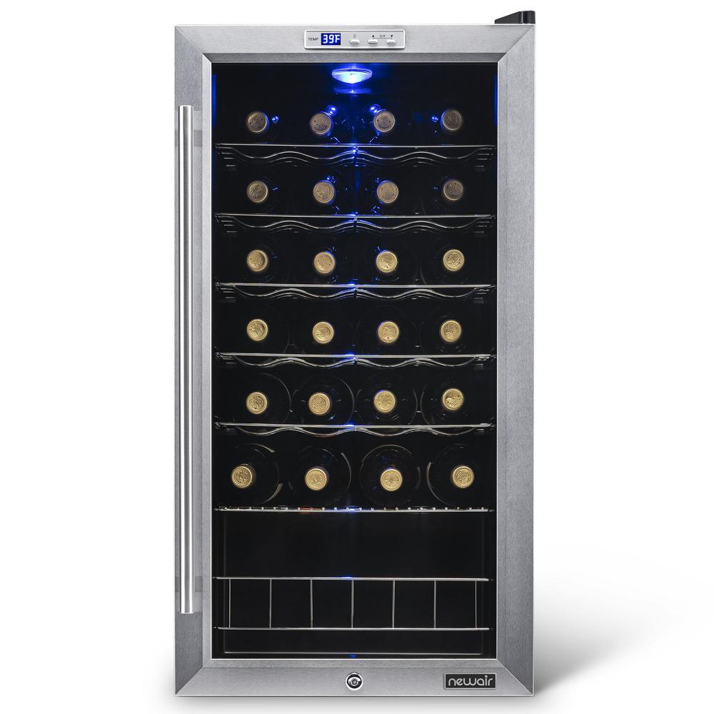Single Zone 27-Bottle Freestanding Wine Cooler Fridge with Exterior Digital Thermostat & Chrome Racks - Stainless Steel