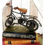 Litton Lane 11 in. x 7 in. Oak Brown Mango Wood and Black Iron Vintage Roadster Bicycle Model Decors (Set of 2)