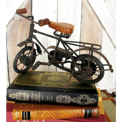 11 in. x 7 in. Oak Brown Mango Wood and Black Iron Vintage Roadster Bicycle Model Decors (Set of 2)