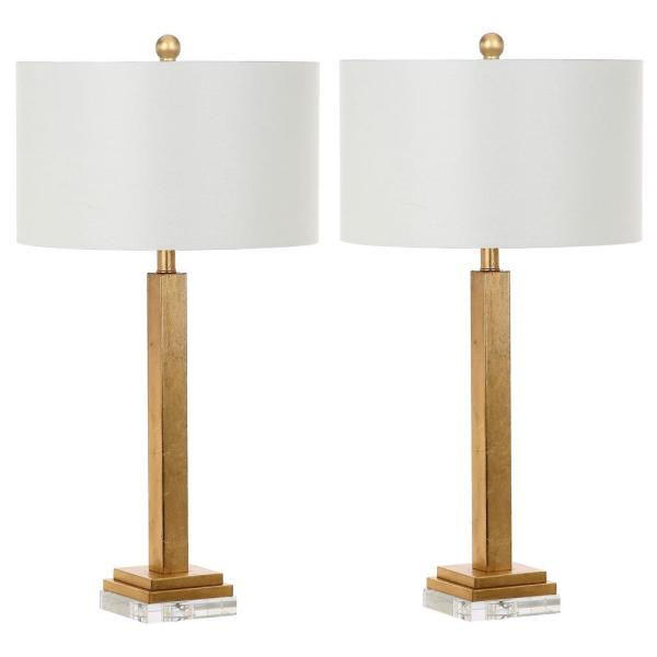 Perri 30 in. Gold Candlestick Crystal Base Table Lamp with Off-White Shade (Set of 2)
