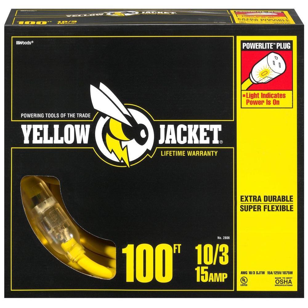 Yellow Jacket 100 Ft. 10/3 SJTW Outdoor Heavy-Duty