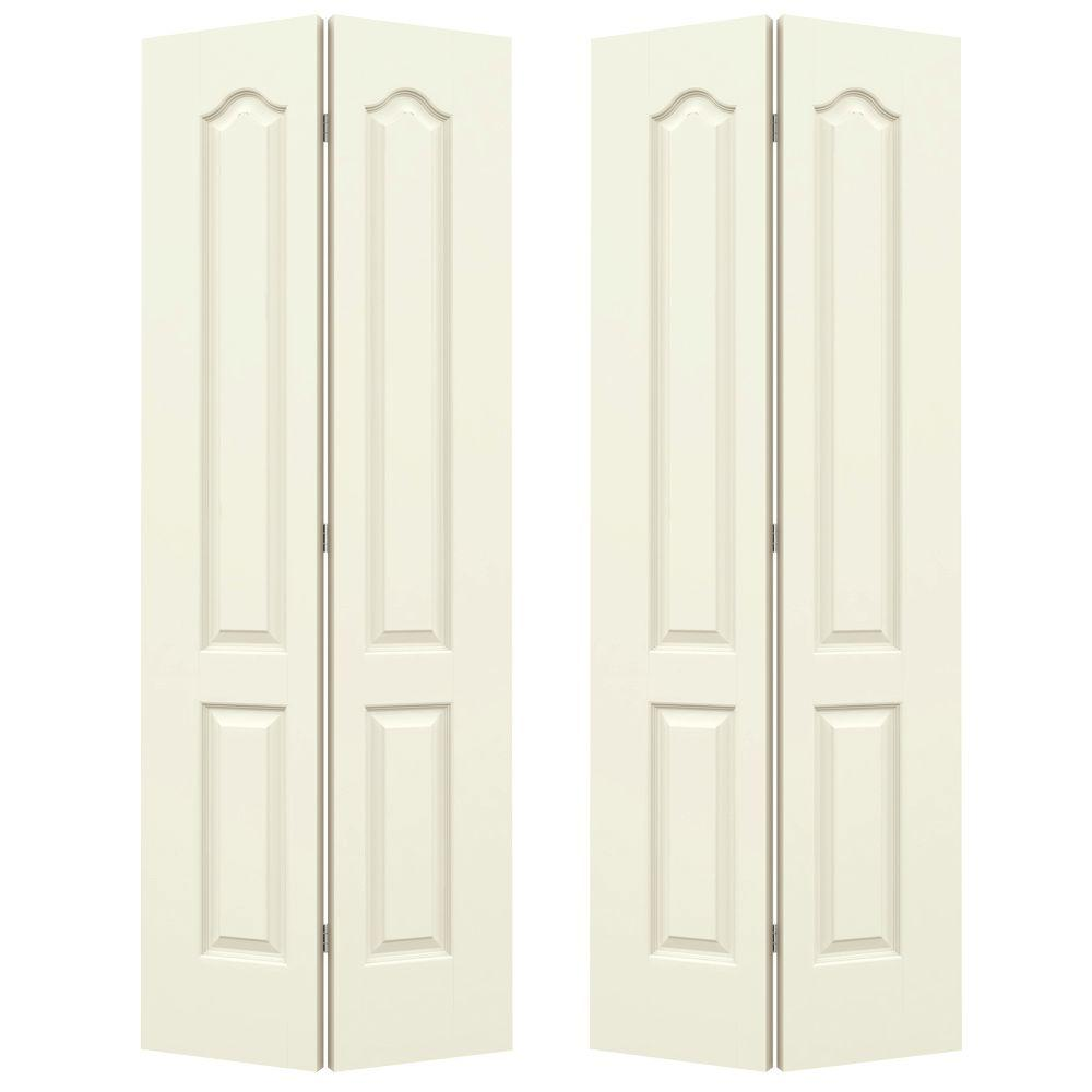 JELD WEN 72 In. X 80 In. Princeton Vanilla Painted Smooth Molded Composite
