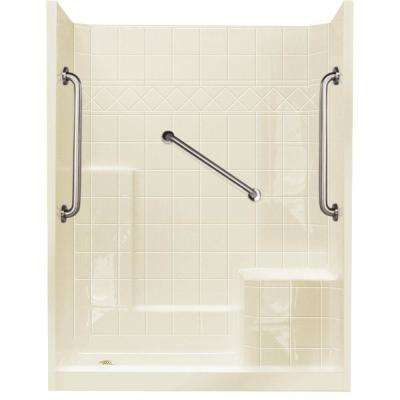 32 in. x 60 in. x 77 in. Standard Plus 24 Low Threshold 3-Piece Shower Kit in Biscuit with Right Seat and Left Drain
