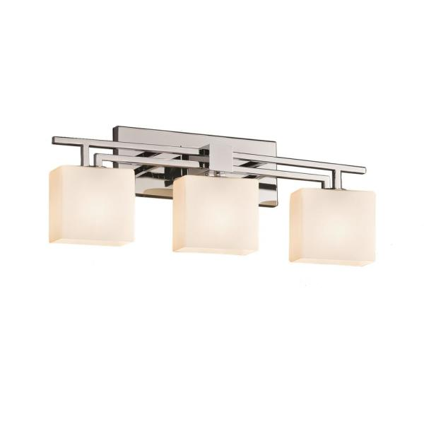 Justice Design Fusion Aero 3 Light Polished Chrome Bath Light With Opal Shade Fsn 8703 55 Opal Crom The Home Depot