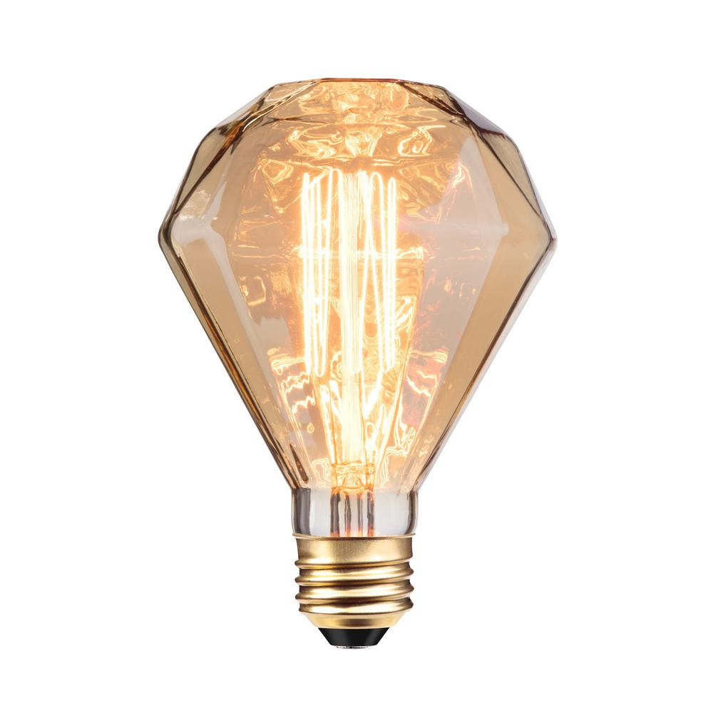 Globe Electric 40w Amber Designer Vintage Edison Diamante Incandescent Light Bulb