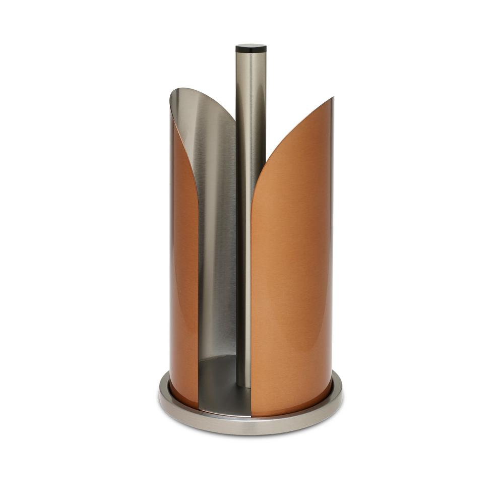 Paper Towel Holder Kitchen Counter Top Vertical Standup Roll Decorative Copper