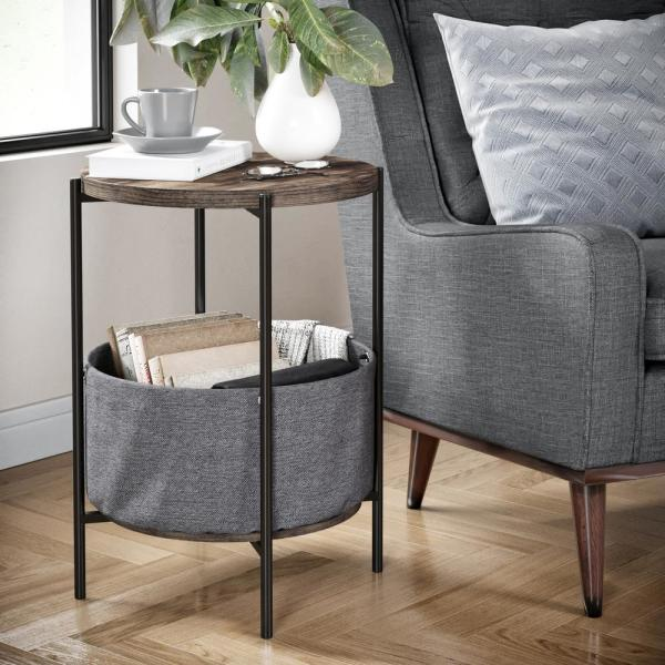 Nathan James Oraa Nutmeg and Black Metal Frame Side Table with