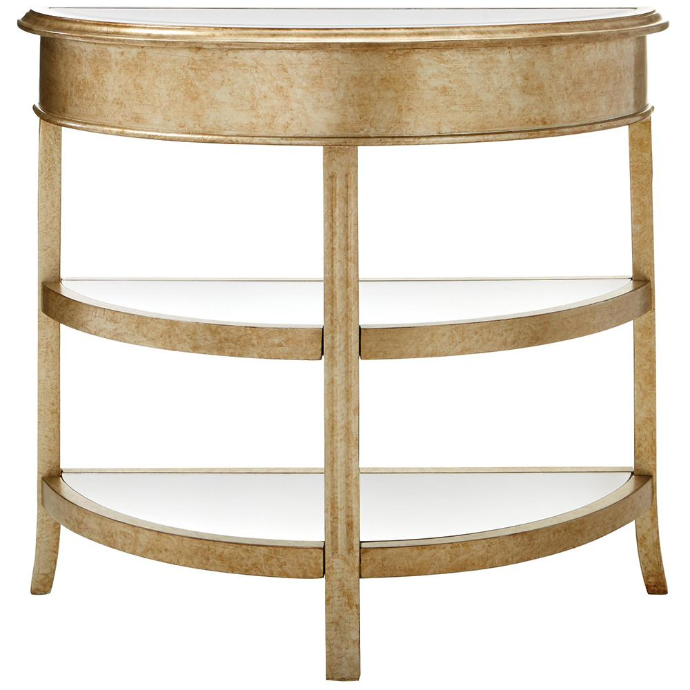 Bevel Mirror Gold Demilune Console9948000530 The Home Depot