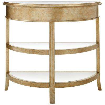 gold console table. Bevel Mirror Gold Demilune Console Table