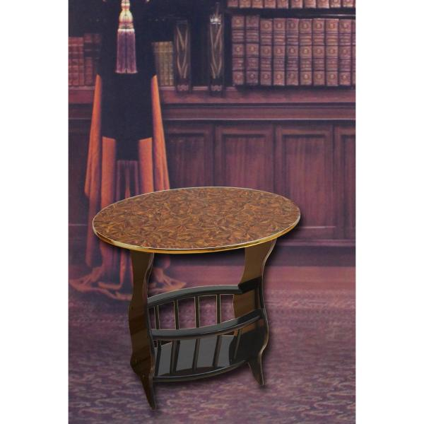 24'' x 15.8'' x 22''High Oval Side Table with Freestanding Magazine Holder, Espresso Brown Finish, Cherry Brown