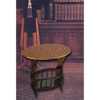 "24"" x 15.8"" x 22""High Oval Side Table with Freestanding Magazine Holder, Espresso Brown Finish, Cherry Brown"