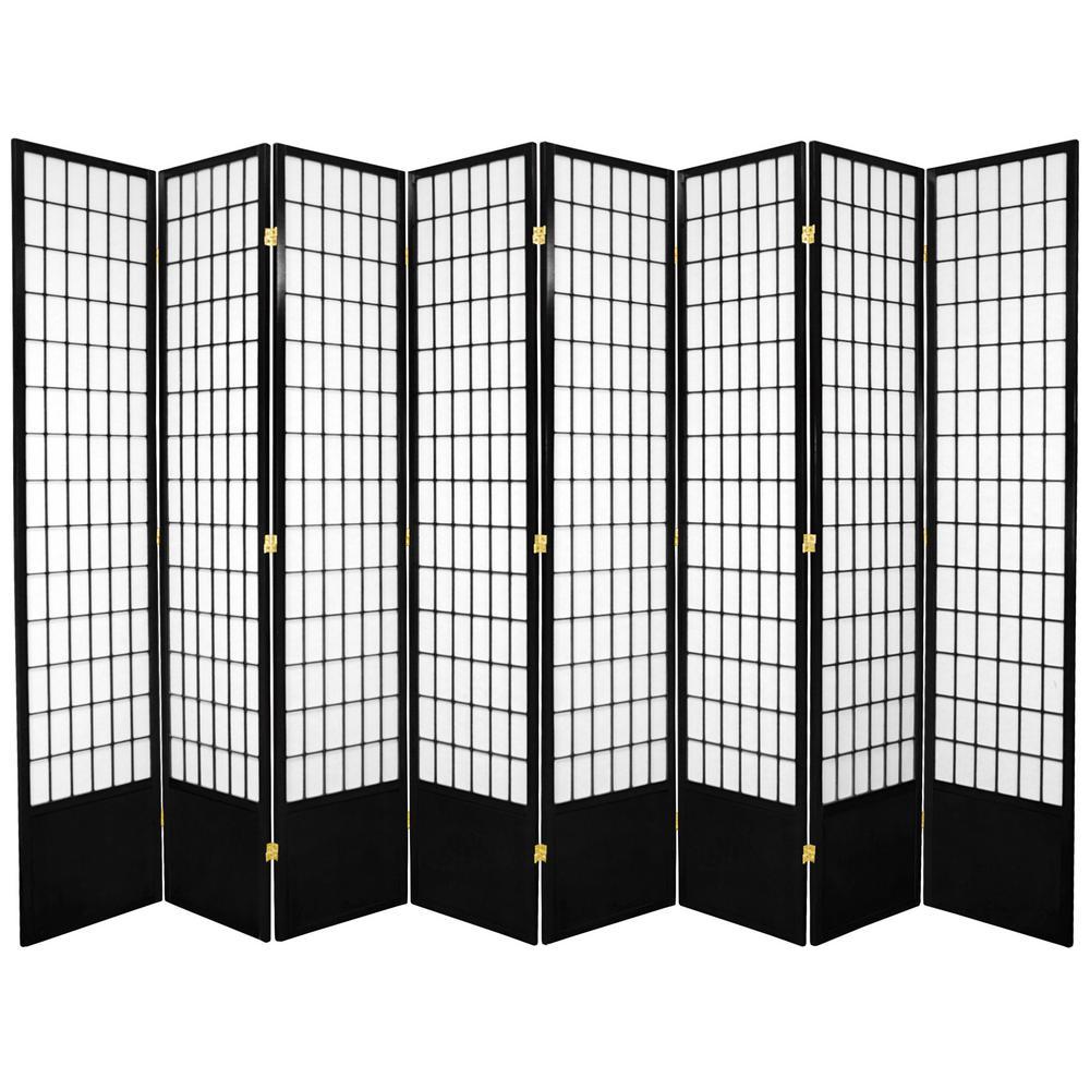 7 ft. Black 8-Panel Room Divider