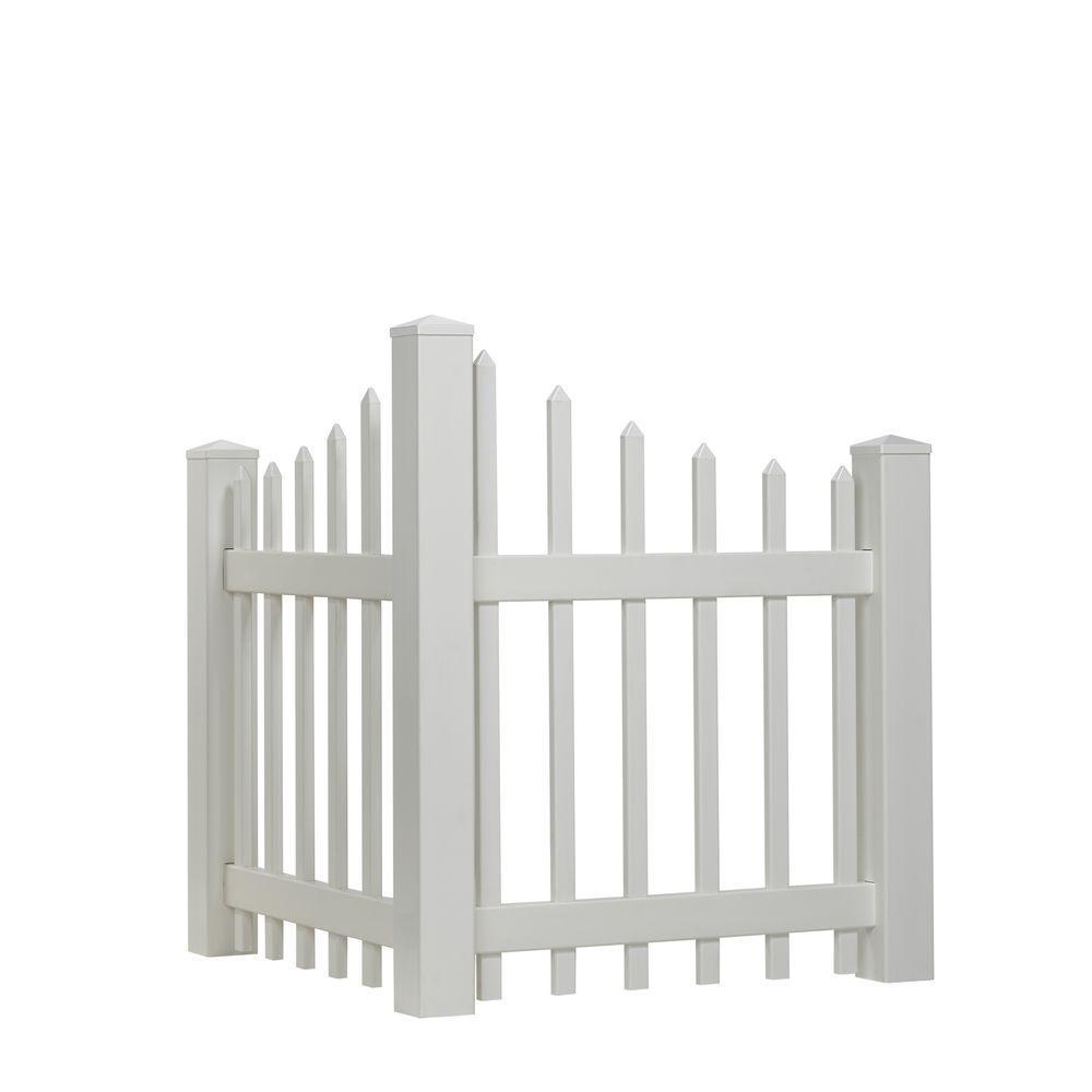 4 ft. H x 3 ft. W White Vinyl Scalloped Spaced Picket Corner Accent Fence Panel Kit