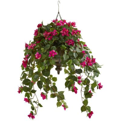 37 in. Bougainvillea Artificial Plant in Hanging Metal Bowl