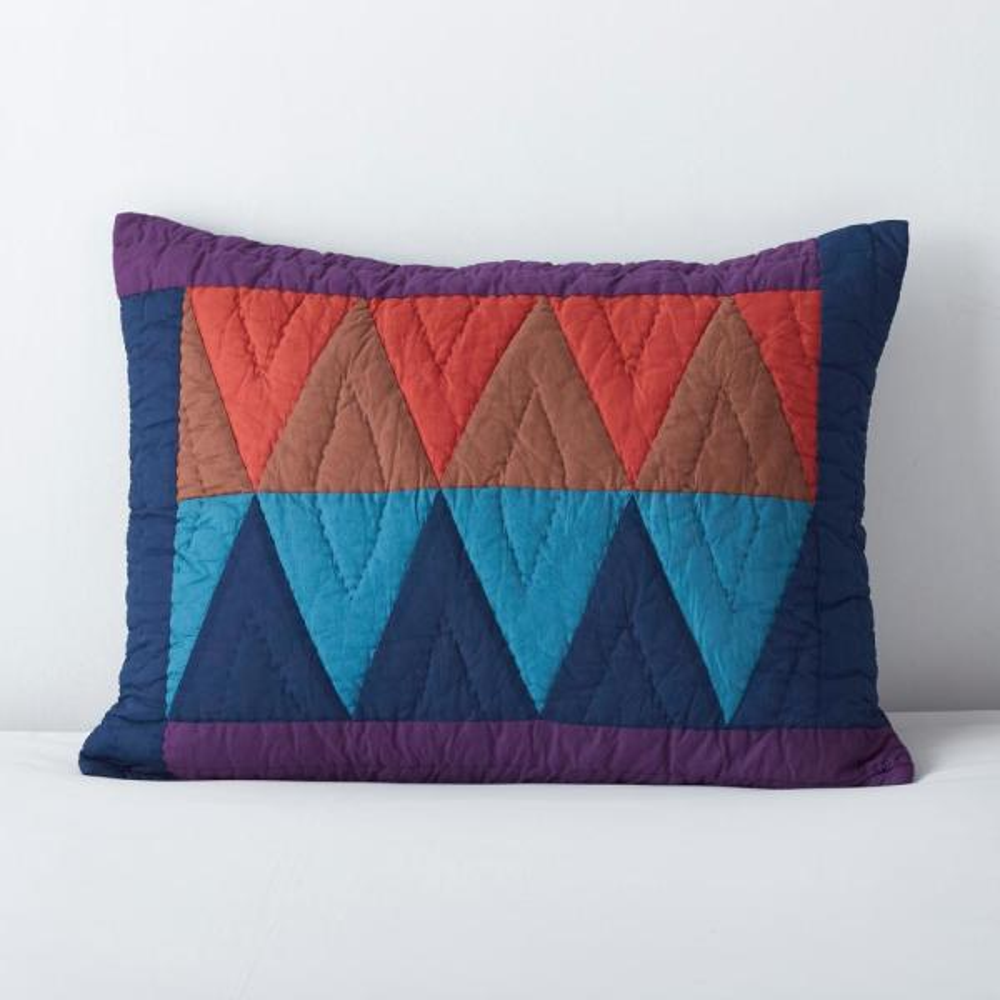 Diamond Multicolored Geometric Cotton Standard Sham