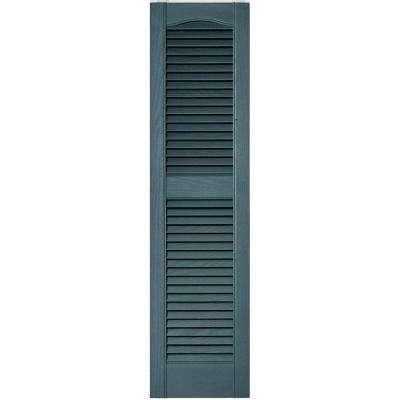 12 in. x 48 in. Louvered Vinyl Exterior Shutters Pair in #004 Wedgewood Blue