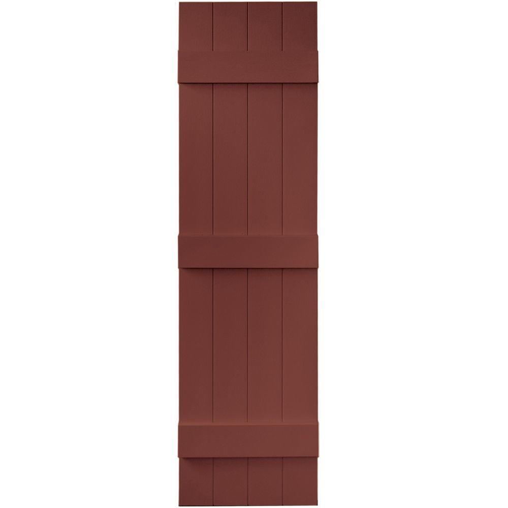 Builders Edge 14 in. x 55 in. Board-N-Batten Shutters Pair, 4 Boards Joined #027 Burgundy Red