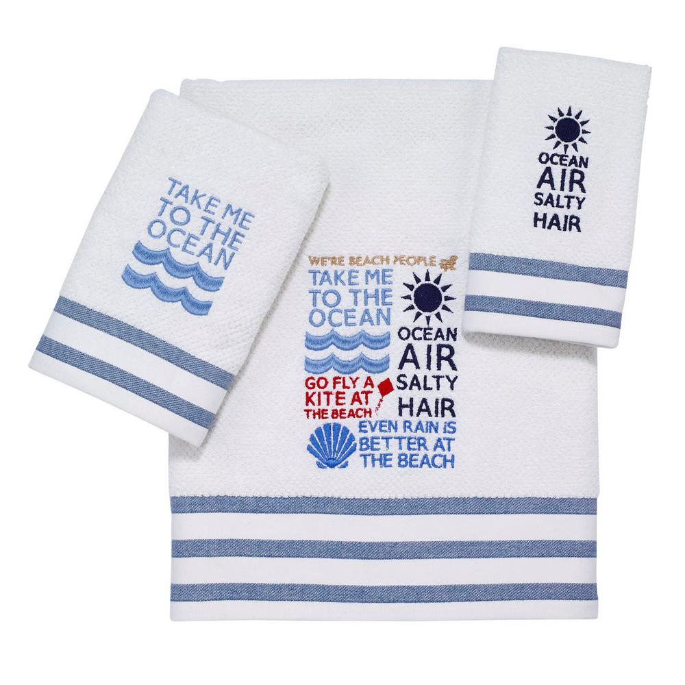 Beach Words 3-Piece Bath Towel Set in White Navy