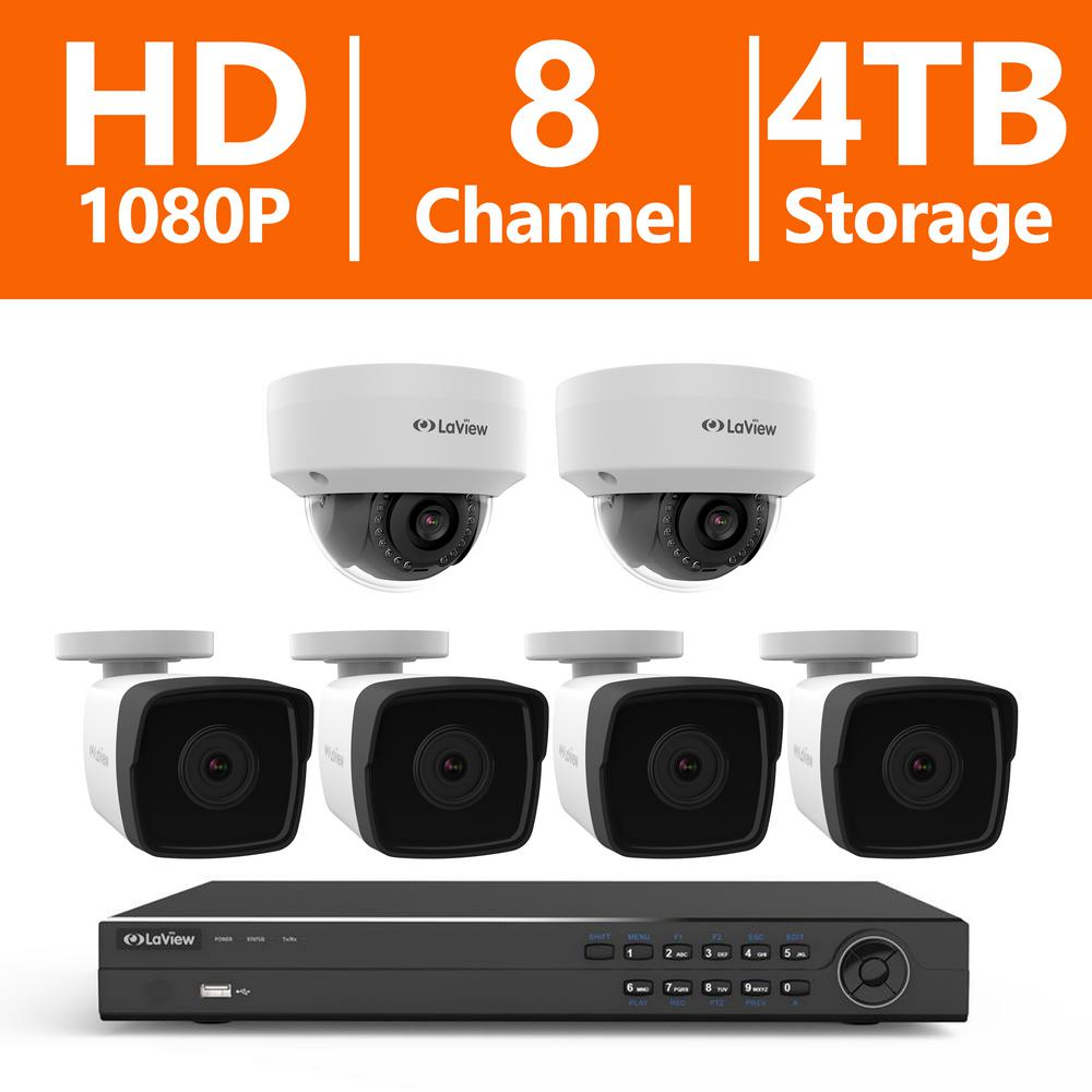 8-Channel Full HD IP Indoor/Outdoor Surveillance 4TB NVR System (4) 1080p