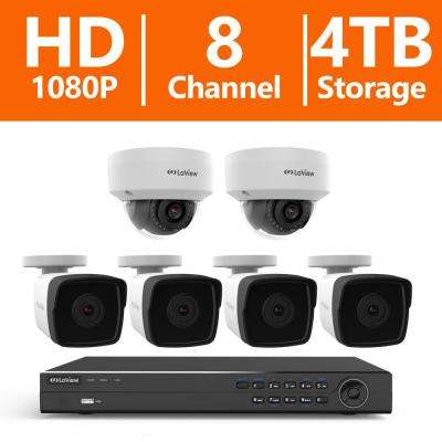 8-Channel Full HD IP Indoor/Outdoor Surveillance 4TB NVR System (4) 1080p Bullet and (2) Dome Cameras Remote Viewing