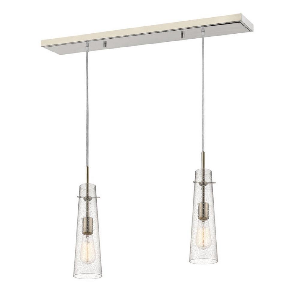 Hervey 2-Light Brushed Nickel Billiard Light with Clear Seedy Glass Shade