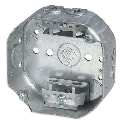 4 in. Steel 15.8 cu. in. Octagon Box with Armored Cable Clamps