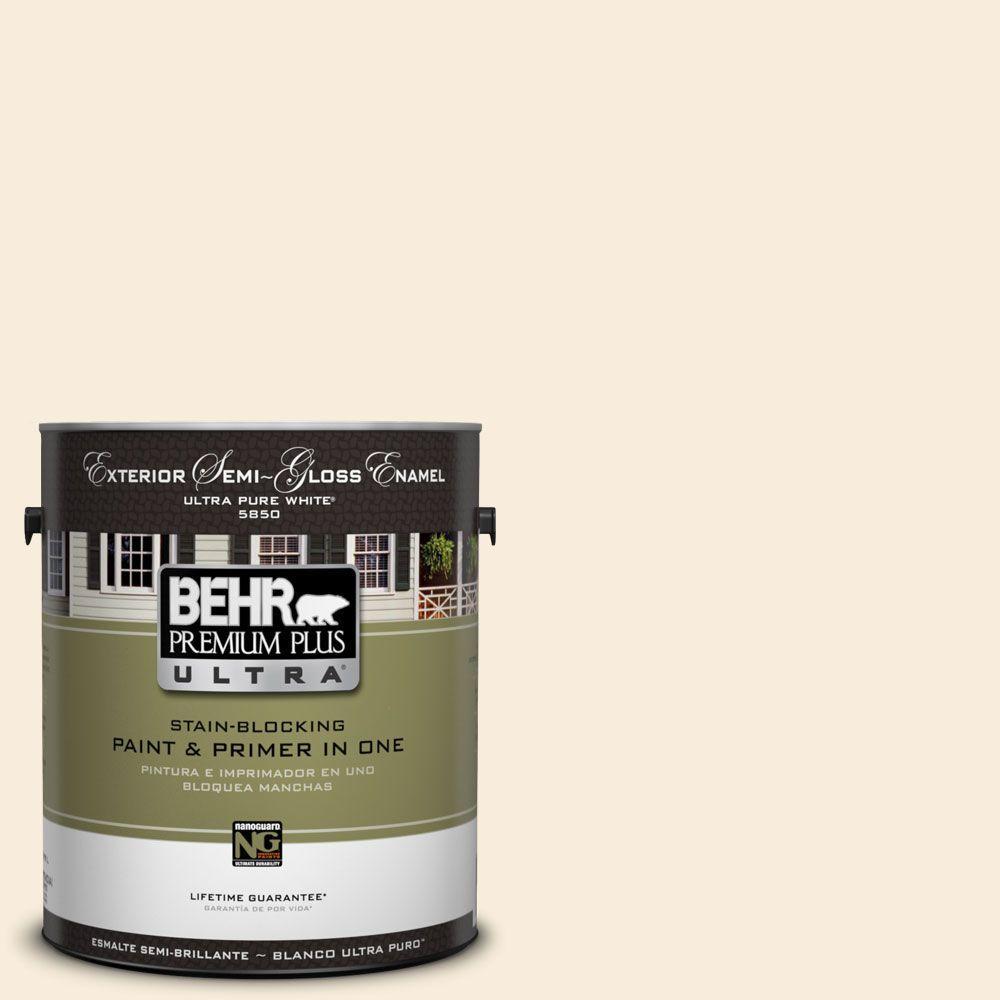 BEHR Premium Plus Ultra 1-gal. #UL160-10 Polished Pearl Semi-Gloss Enamel Exterior Paint