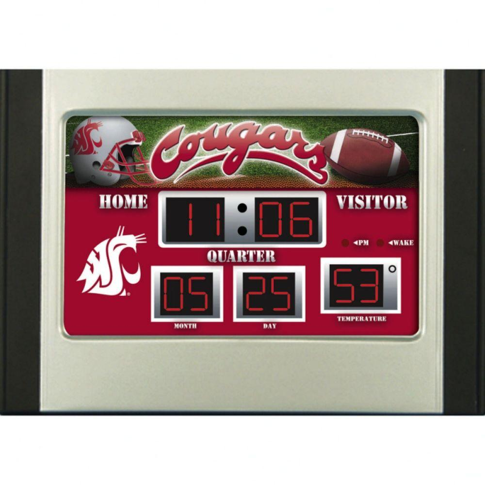 null Washington State University 6.5 in. x 9 in. Scoreboard Alarm Clock with Temperature