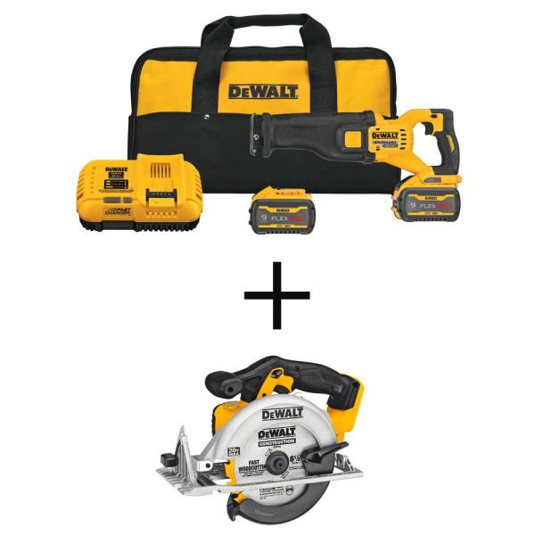 FLEXVOLT 60-Volt MAX Lithium-Ion Cordless Brushless Reciprocating Saw Kit with 20V 6-1/2 in. Circular Saw (Tool-Only)