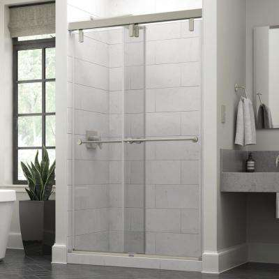 Lyndall 48 x 71-1/2 in. Frameless Mod Soft-Close Sliding Shower Door in Nickel with 3/8 in. (10mm) Clear Glass