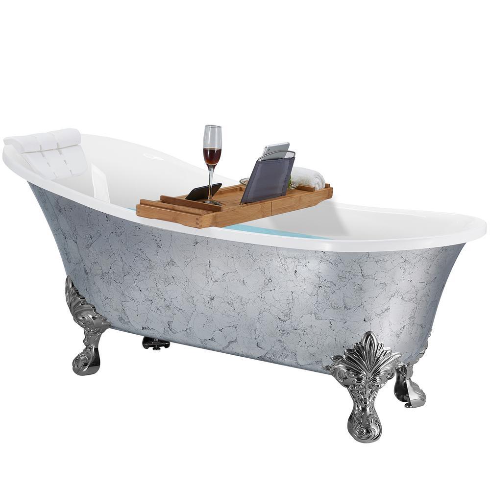 AKDY 69 in. Clawfoot Bathtub Acrylic Bathtub - Stand Alone Tub - Luxurious SPA Soaking in Glossy Finish Silver Foil, Gloss finish silver foil was $1899.99 now $999.99 (47.0% off)