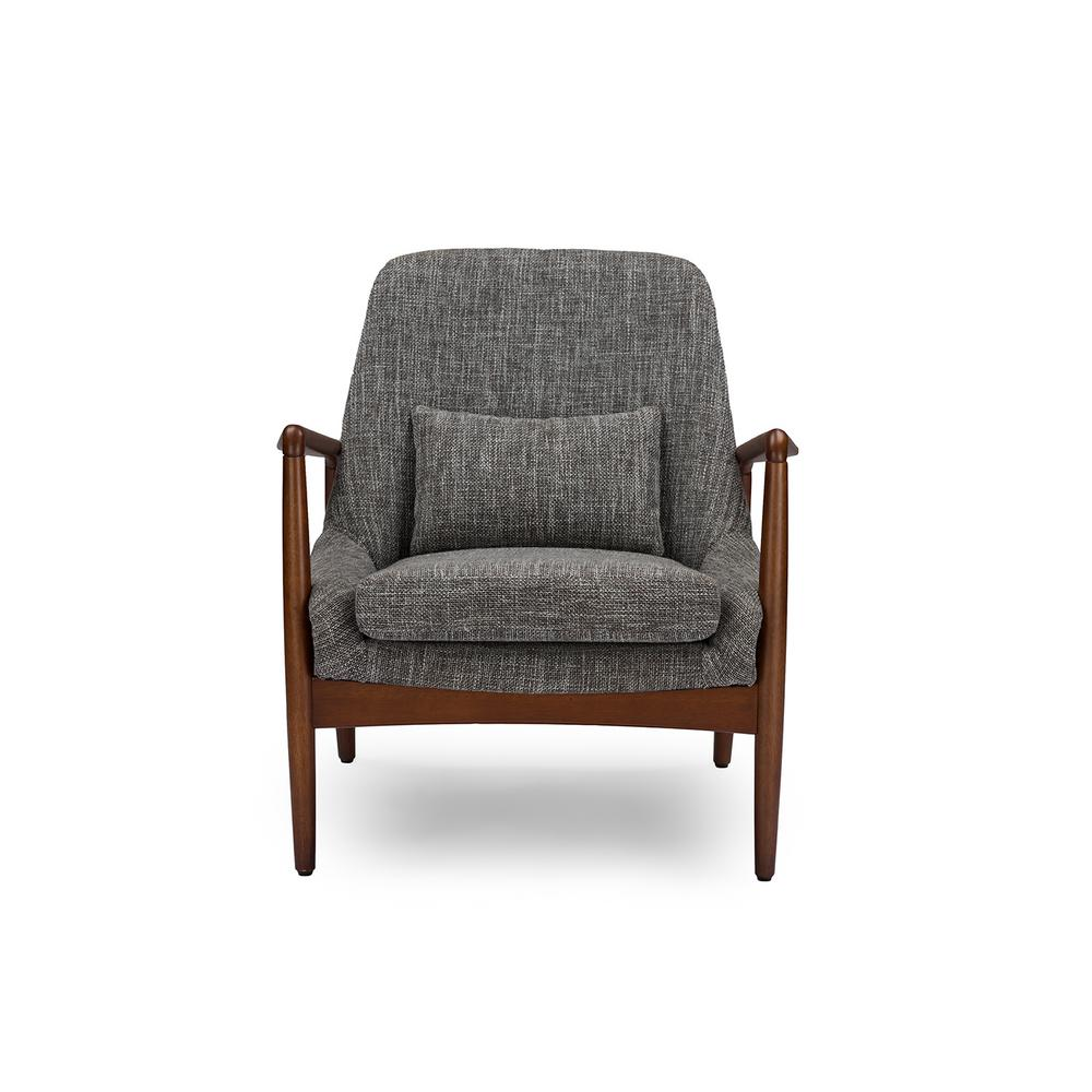 Carter Mid-Century Gray Fabric Upholstered Accent Chair