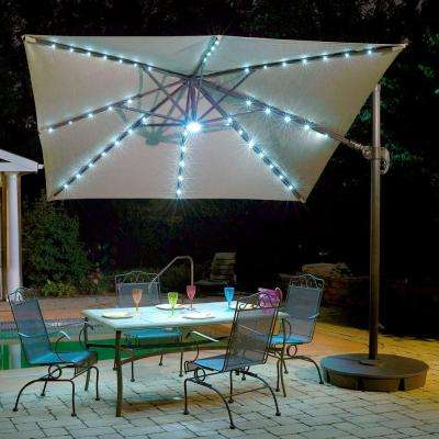 Santorini II Fiesta 10 ft. Square Cantilever Patio Umbrella in Beige Sunbrella Acrylic