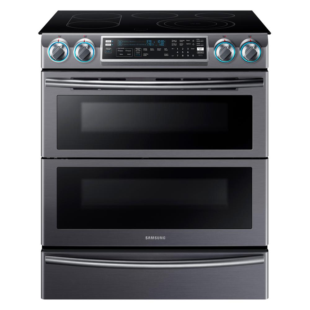 Samsung Flex Duo 5.8 cu. ft. Slide-In Double Oven Electric Range with Self-Cleaning, Fingerprint Resistant Black Stainless